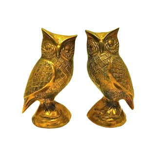 1960s Oversized Brass Owl Bookends
