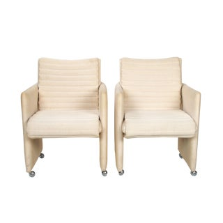 Milo Baughman Armchairs on Casters - Pair