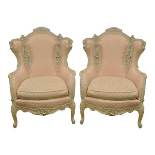 Vintage Figural French Victorian Wing Back Fireside Arm Chairs - a Pair