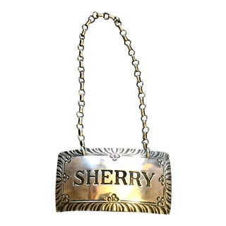 Sterling Silver Bottle Label for Sherry