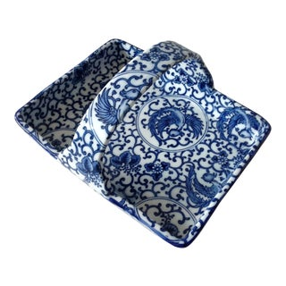 Blue & White Porcelain Tray With Handle