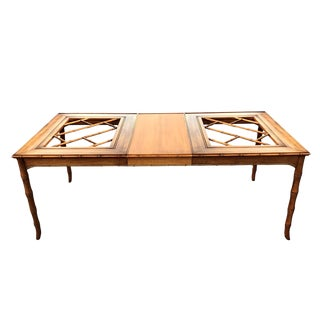 Vintage Faux Bamboo Fretwork Dining Table w/ Leaf