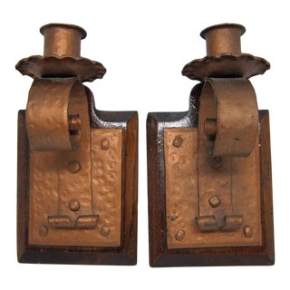 Arts & Crafts Candle Stick Holders - A Pair