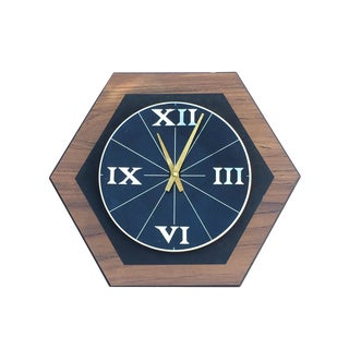 Mid-Century Hexagon Roman Numeral Wall Clock
