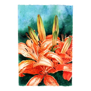 Tiger Lilies Up Close in Watercolor by Gail Overpeck