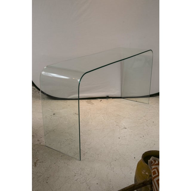 Glass Waterfall Console in the Style of Pace - Image 3 of 6