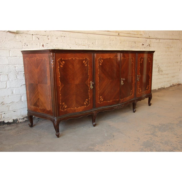 vintage louis xv style french marquetry sideboard buffet with carrara marble top chairish. Black Bedroom Furniture Sets. Home Design Ideas