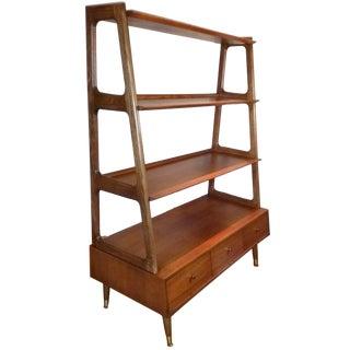 Mid Century Modern Danish Style Oak and Walnut Bookcase