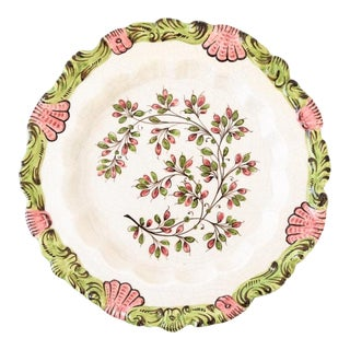 Vintage Italian Hand Painted Decorative Ceramic Plate with Floral Motif