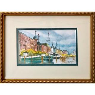 Helinski Waterfront Watercolor by Mariusz Robaszkiewicz