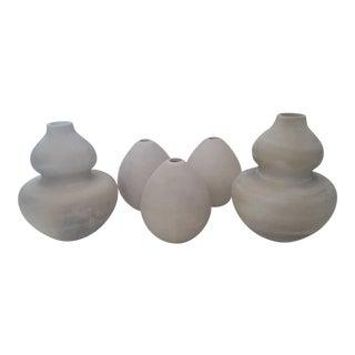 Nate Berkus Sculptural Modernist Bulbous Gourd Chalk Vases - Set of 5
