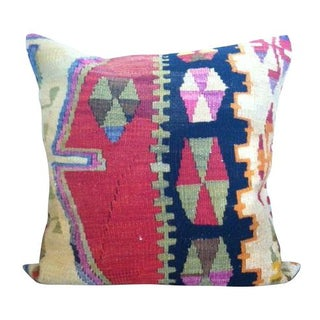 Turkish Blue & Red Kilim Wool Pillow