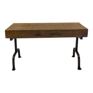 Custom Reclaimed Wood Rustic Bench with Iron Base