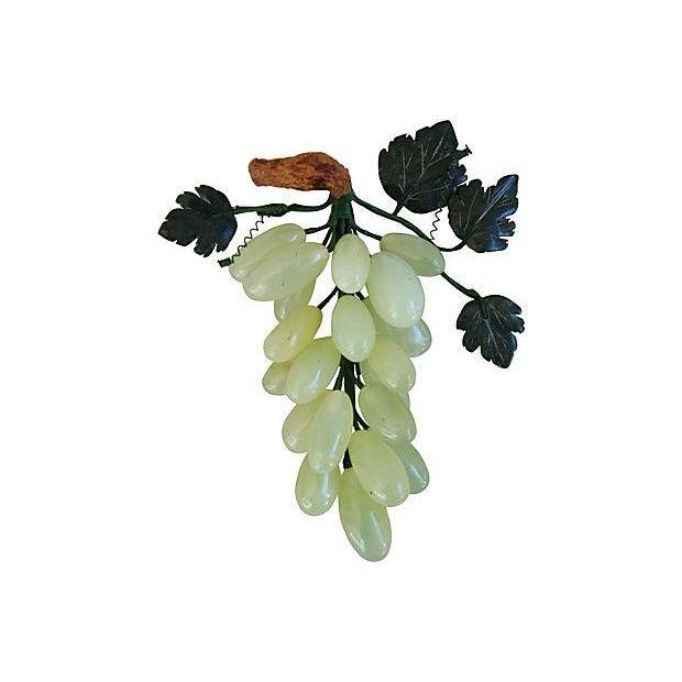 Image of Vintage Carved Jade & Stone Grape Bunch