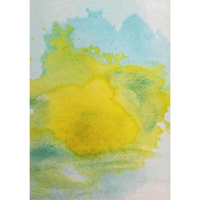 """Lemon Sun"" Modern Abstract Original Watercolor Painting - Image 5 of 5"
