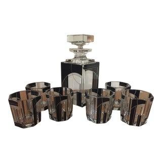 Karl Palda Art Deco Black Decanter Set - Set of 7