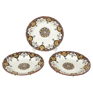 1880s Minton Rouen Flat Soup Bowls - Set of 3