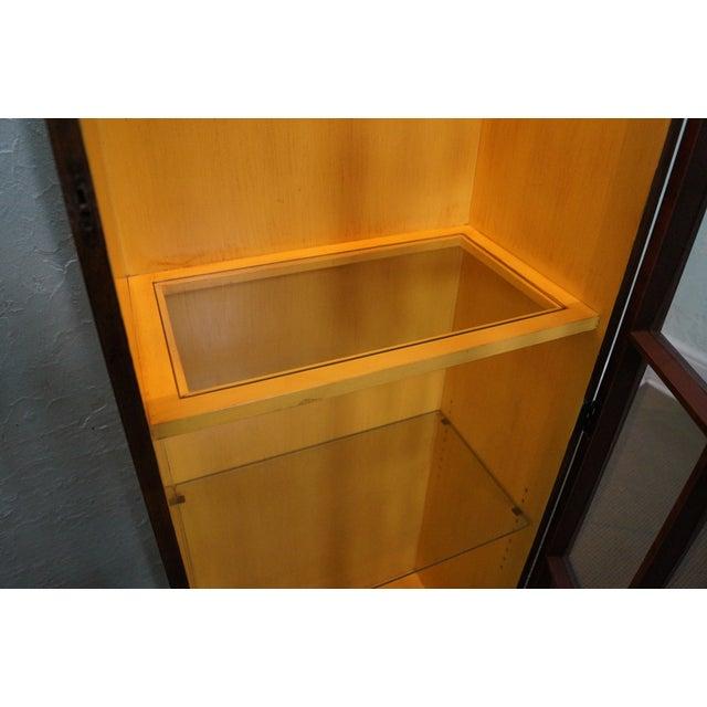 Image of Baker Vintage Walnut Narrow Lighted Curio Cabinet