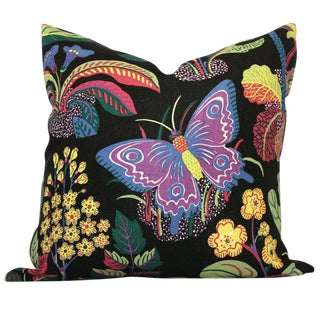 Exotic Butterfly in Black Decorative Pillow Cover, 20x20