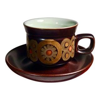 Denby Arabesque Mug and Saucer - set of Four