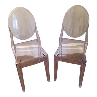 Ghost Transparent Side Chairs - A Pair