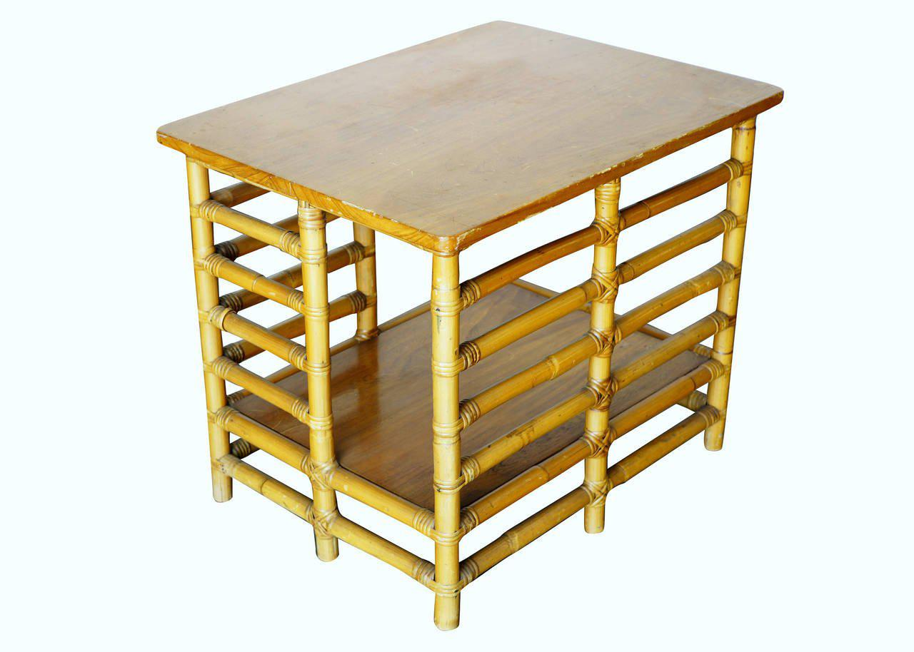 Restored Rattan Floating Ladder Side Table   Image 4 Of 6