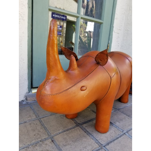 Small Leather Animal Rhino Footstool - Image 2 of 5