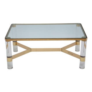 Signed Karl Springer Lucite and Polished Bronze Coffee Table