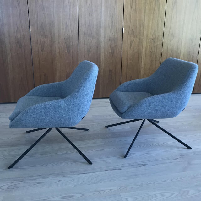 Palau Blue Swivel Chairs - A Pair - Image 3 of 8