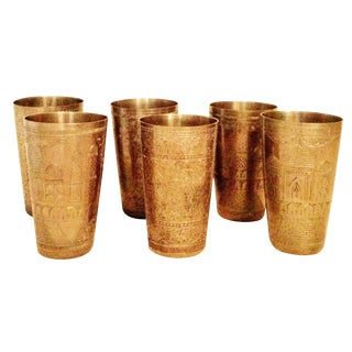 Vintage Brass Etched Tumblers - Set of 6