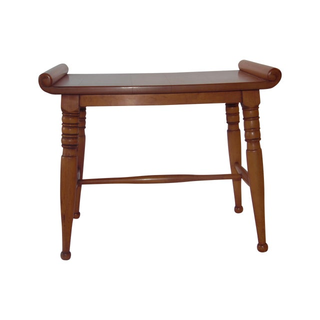 Mid- Century Wood Light Brown Color Bench - Image 1 of 11