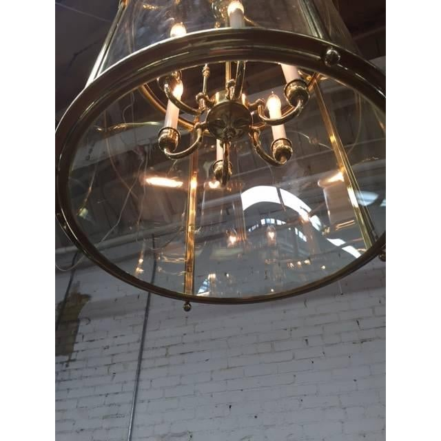 Hollywood Regency Glass Brass Hanging Light - Image 4 of 5