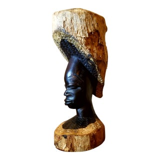 African Hand Carved Ebonized Driftwood Female Bust