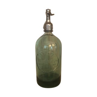 Vintage Green Glass Soda/Seltzer Bottle