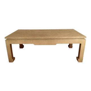 Baker Greige Grasscloth Wrapped Coffee Table