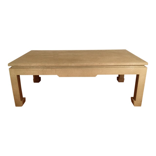 Baker Greige Grasscloth Wrapped Coffee Table With Chow Feet - Image 1 of 7
