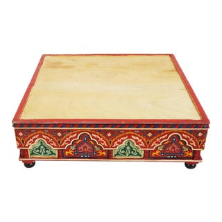 Moroccan Painted Wooden Ottoman