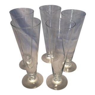 5 Vintage Crystal Footed Pilsner Glasses