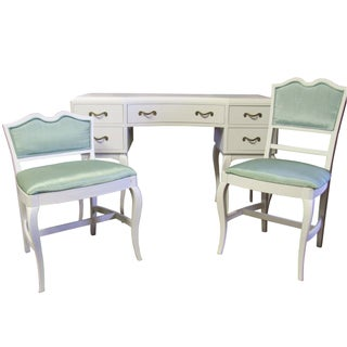 RWAY French Provincial Desk Vanity & Green Chairs