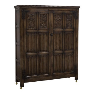 An Oak Linen Fold Cupboard English ca. 1880