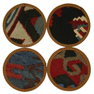 Vintage Konya Kilim Coasters - Set of 4