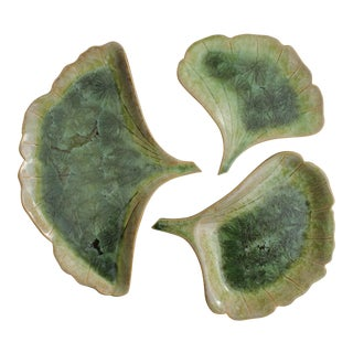 Ginkgo Leaf Studio Pottery Plates - Set of 3