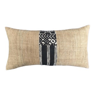 Hand Loomed Linen Pillow W/ African Tribal Panel