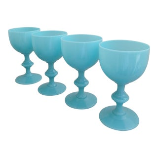 French Blue Opaline Goblets - Set of 4