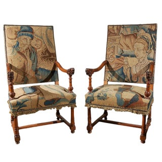 Pair of Tapestry Covered, Walnut Armchairs