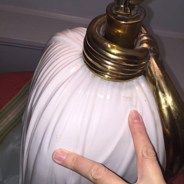 Dorothy Draper Style Chapman Brass Bow Swag Ceramic Lamp - Image 8 of 11