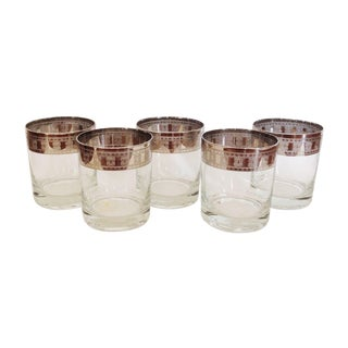Vintage Silver Rimmed Greek Key Glasses