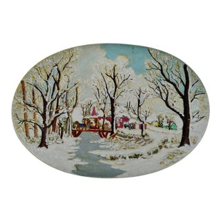 Winter Scene with Horse & Sleigh Hand-Painted Wall Art