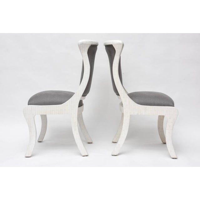 Tesselated Bone and Linen Side Chairs - Image 3 of 10