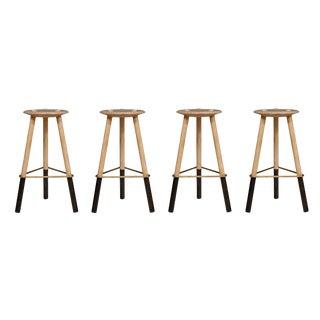 Set of 4 Erickson Aesthetics Solid Ash Tripod Stools
